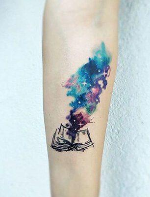 Watercolor Magic Books Tattoo