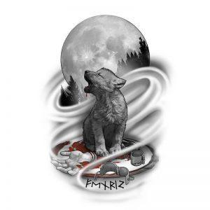 Baby Wolf Tattoo Design