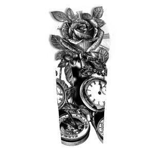 Clocks Roses Tattoo Design