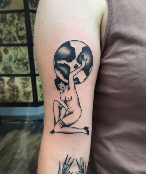 Female Holding up the World Tattoo