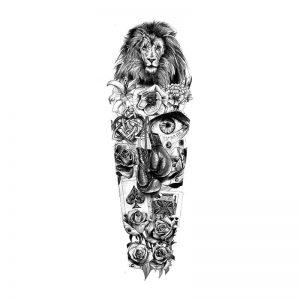 Nature Lion Full Sleeve Tattoo