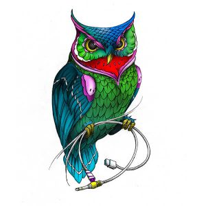 Owl With Cables Tattoo Idea