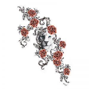 Rose Lion Cub Tattoo Idea