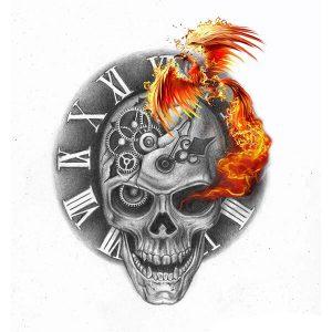 Skull Phoenix Tattoo Idea
