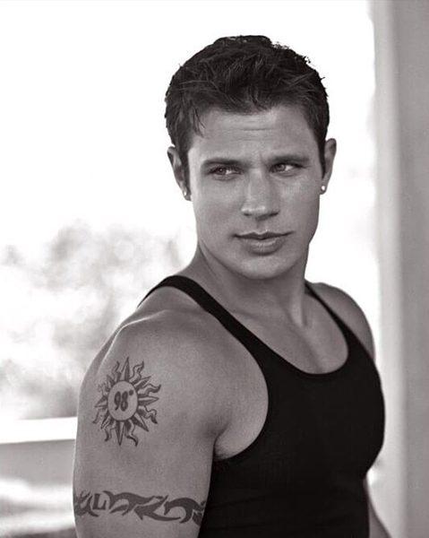 Nick Lachey's 98 Degrees Tattoo and Tribal Armband
