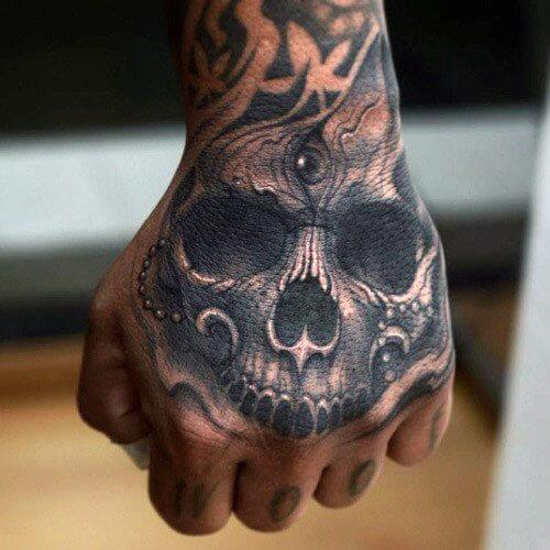 Skull Tattoo on the Back of a Hand