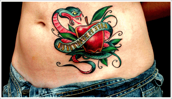 New School Snake and Apple Tattoo