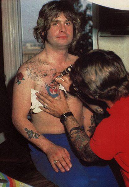 Ozzy Osbourne Getting Tattooed