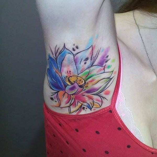 Watercolor Flower Armpit Tattoo