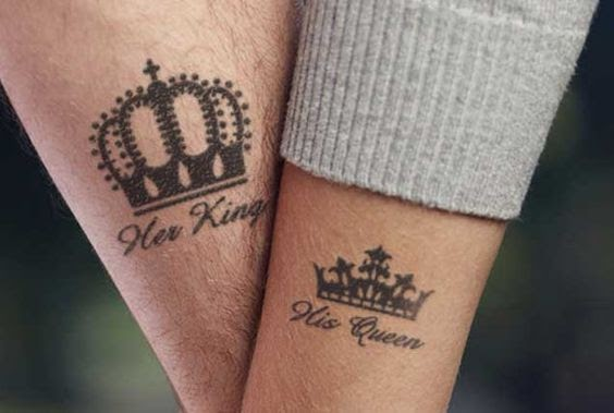 King and Queen Crown Tattoos on Forearms
