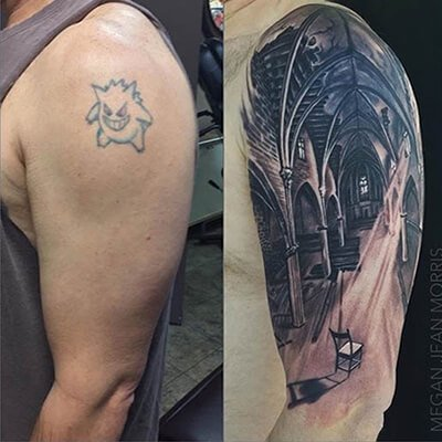 Detailed Forest Cover Up Tattoo