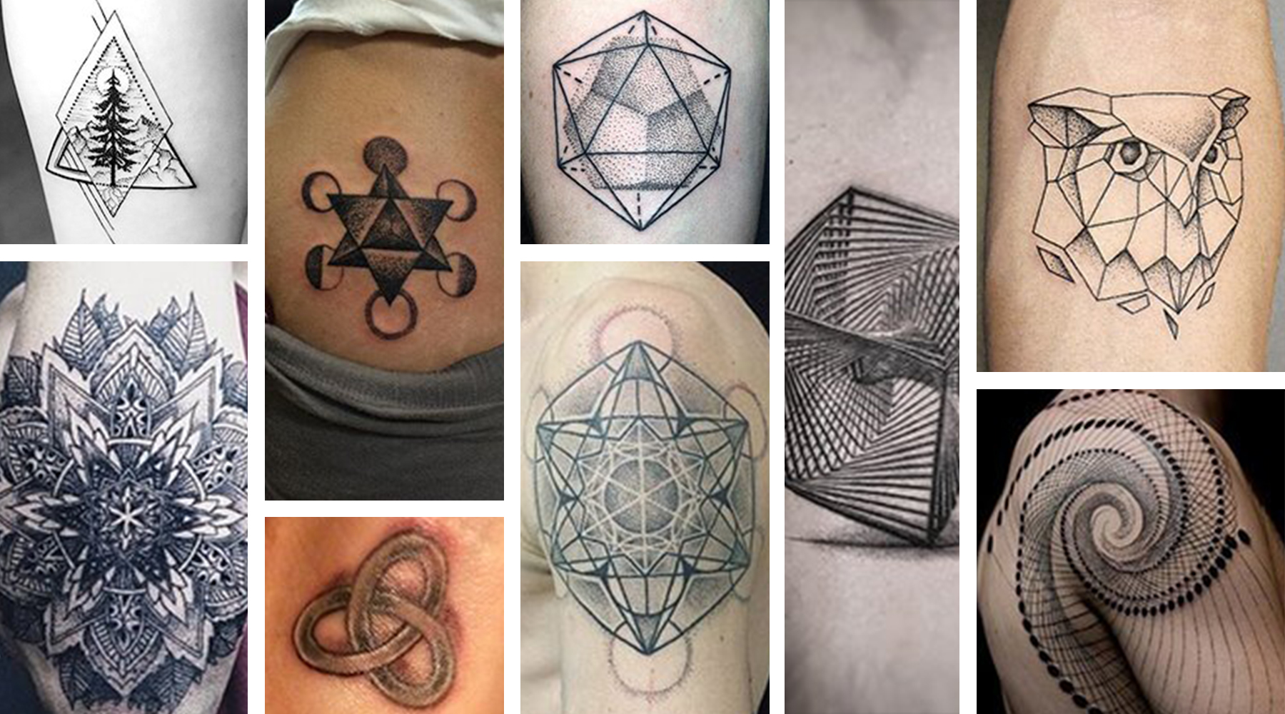 Geometric tattoo designs have existed since ancient times, and many of these symbols live on today. Based on simple mathematical patterns, these designs show the shapes hidden in nature-like the trian...