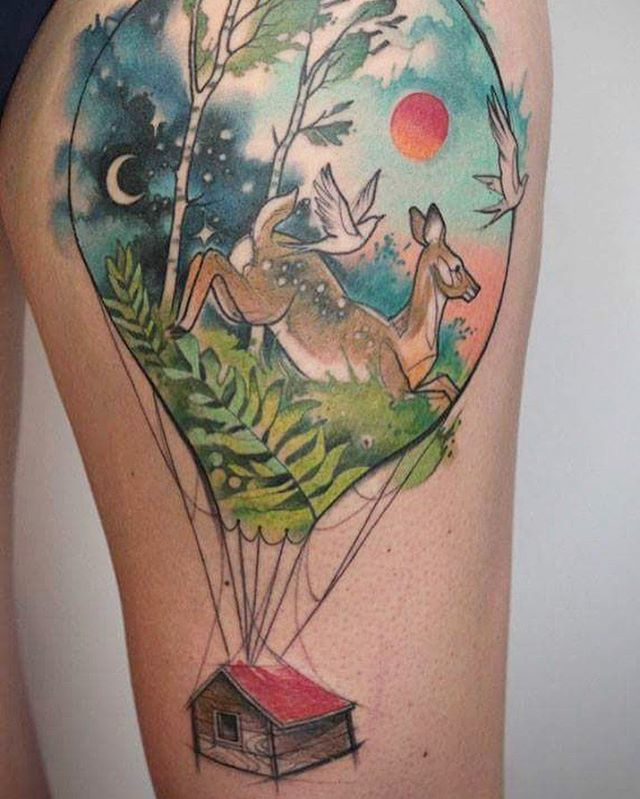 Deer in a Balloon Carrying a House Illustrative Tattoo