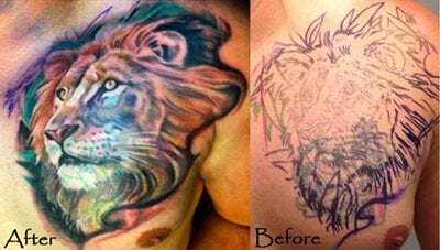 Lion Cover Up with Color Tattoo