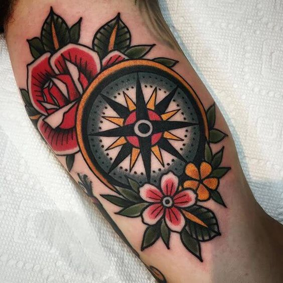 Traditional Style Compass Tattoo