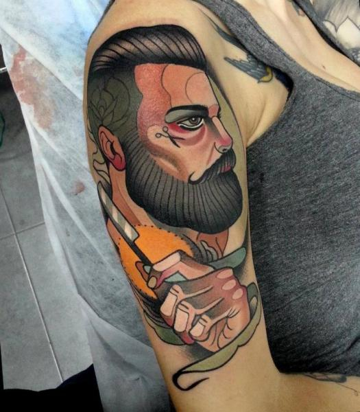 New School Tattoo of a Man with a Beard