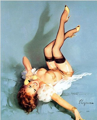 Photo of a Pinup Girl Laying Down with Feet Up