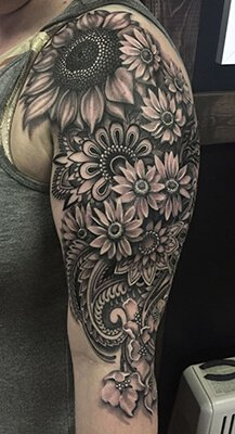 Black and Grey Floral Tattoo Sleeve