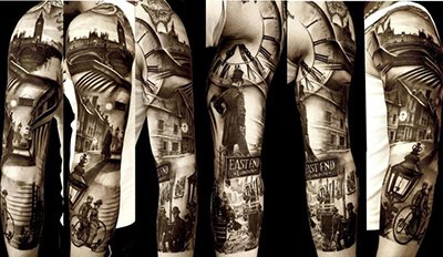 Black and Grey Photorealistic Tattoo Sleeve