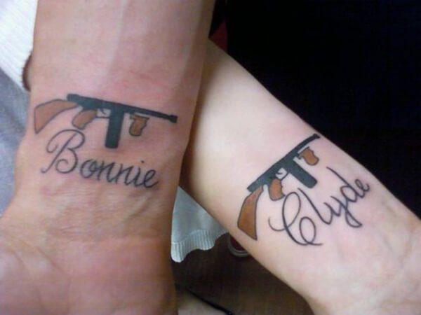 Bonnie and Clyde Guns Tattoo