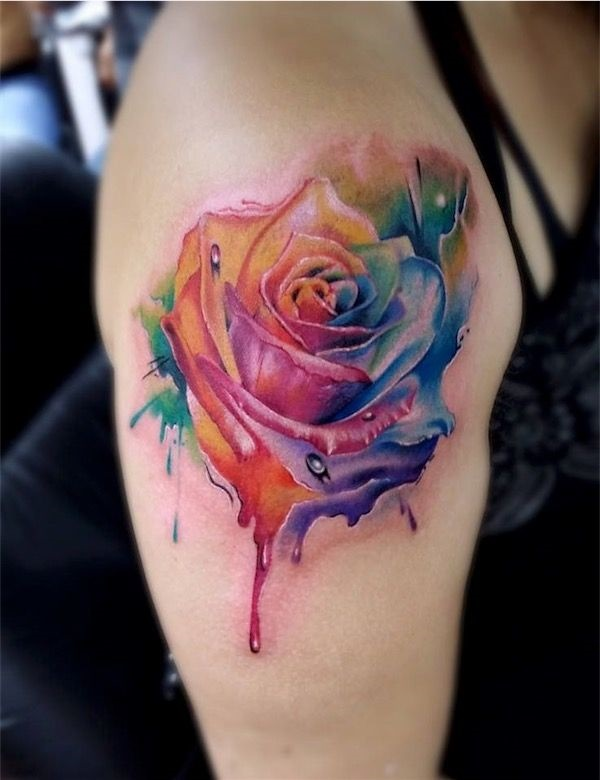 Rose in a Watercolor Abstract Tattoo Style