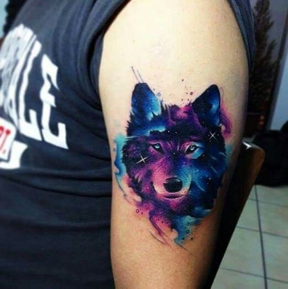 Wolf in Watercolor Tattoo Style