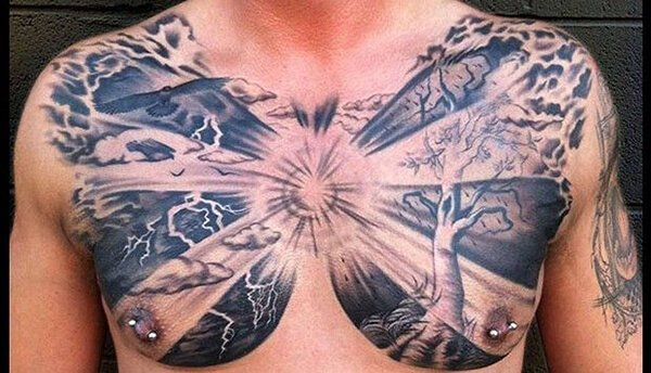 Full Chest Tattoo with a Sun
