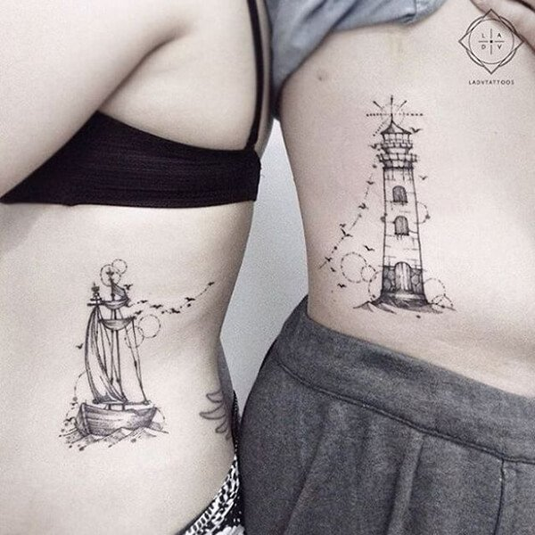 Lighthouse and Ship Tattoos