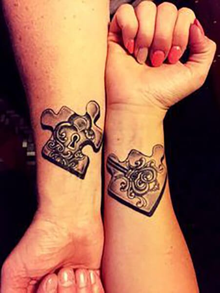Lock and Key Puzzle Pieces Couple Tattoo