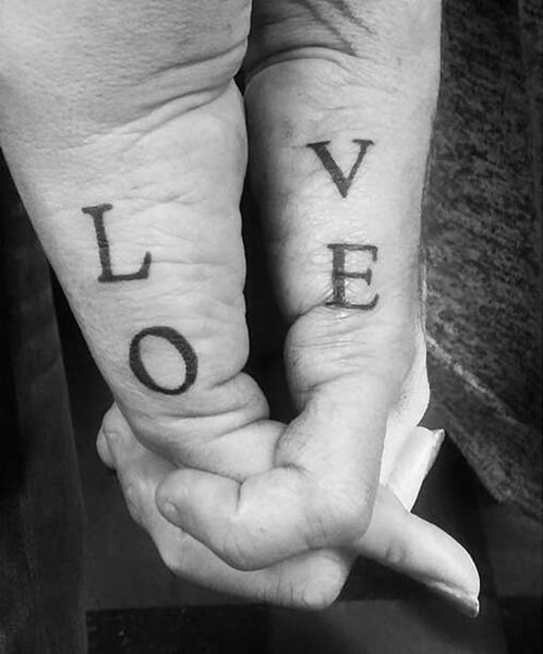 LOVE Letters Couple Tattoos