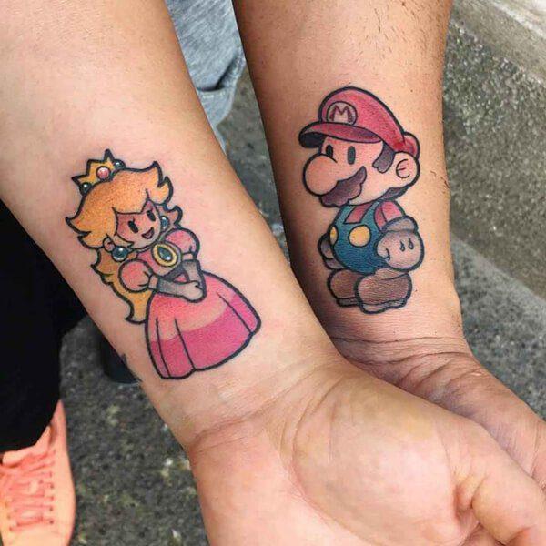 Peach and Mario Wrist Tattoos
