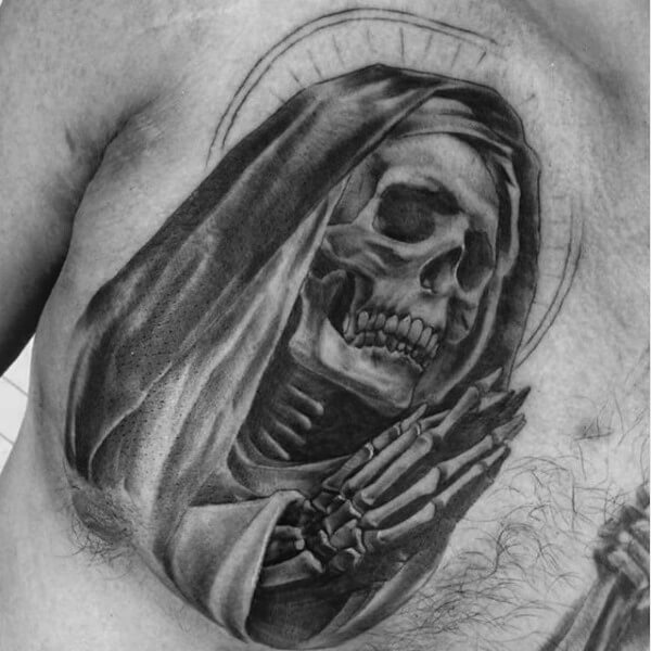 Praying Skeleton Chest Tattoo