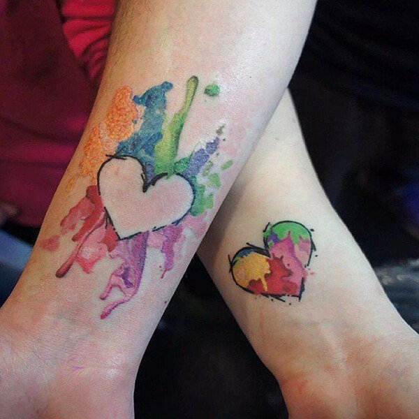 Watercolor Heart Tattoos for Couples