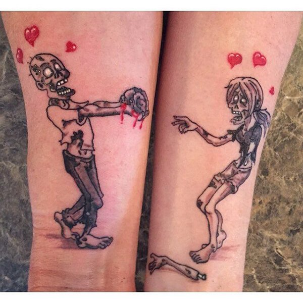 Zombies in Love Couples Tattoo