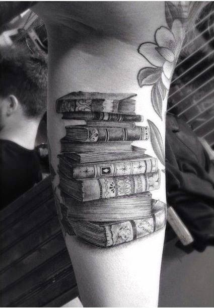Stack of Books Tattoo Idea