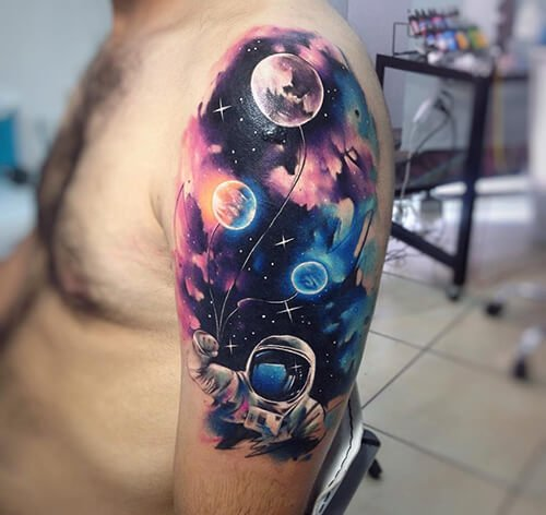 Color Planets and Astronaut Tattoo Design