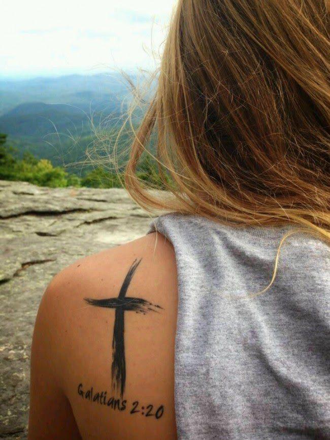 Cross and Bible Tattoo