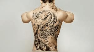 Full Back Tattoo in Black and White