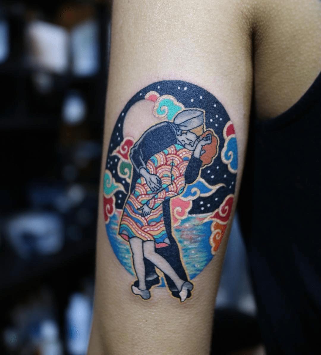 Korean Tattoo Style of the New York Kiss