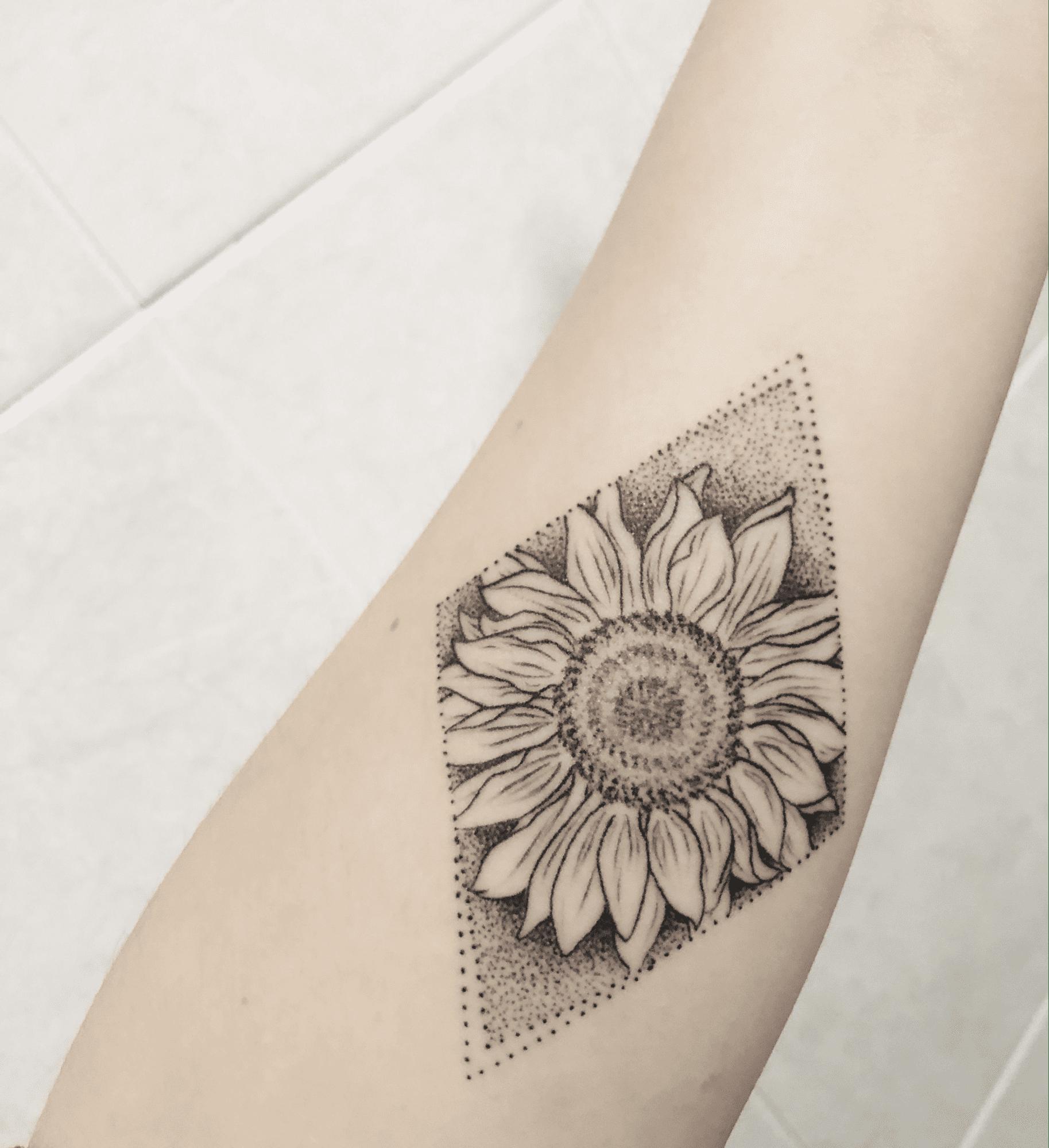 Dot Work Tattoo Design of a Sunflower