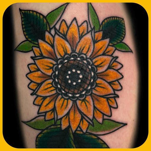 Neo Traditional Sunflower Tattoo Design