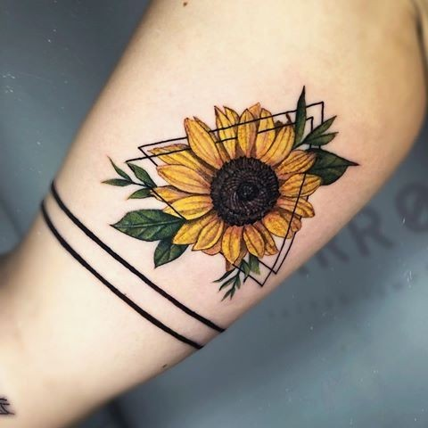 Geometric and Realistic Sunflower Tattoo Design