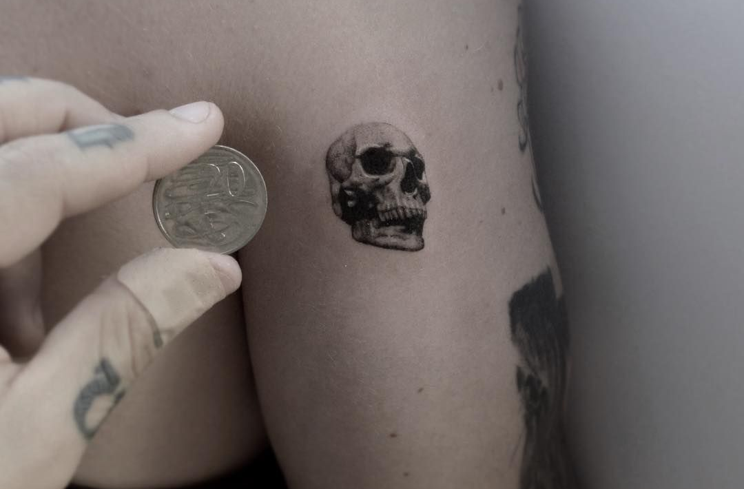 Small Realistic Skull Tattoo Design