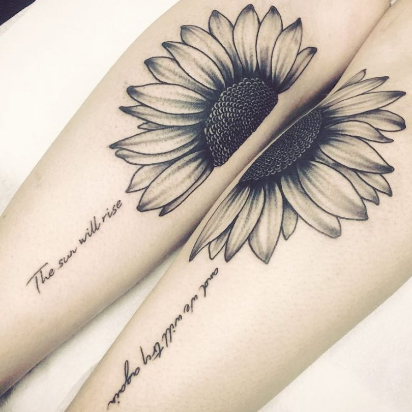 Realistic Black and White Sunflower Tattoo Design