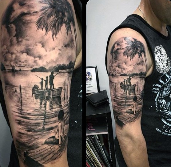 Realistic Fishing Tattoo Scene