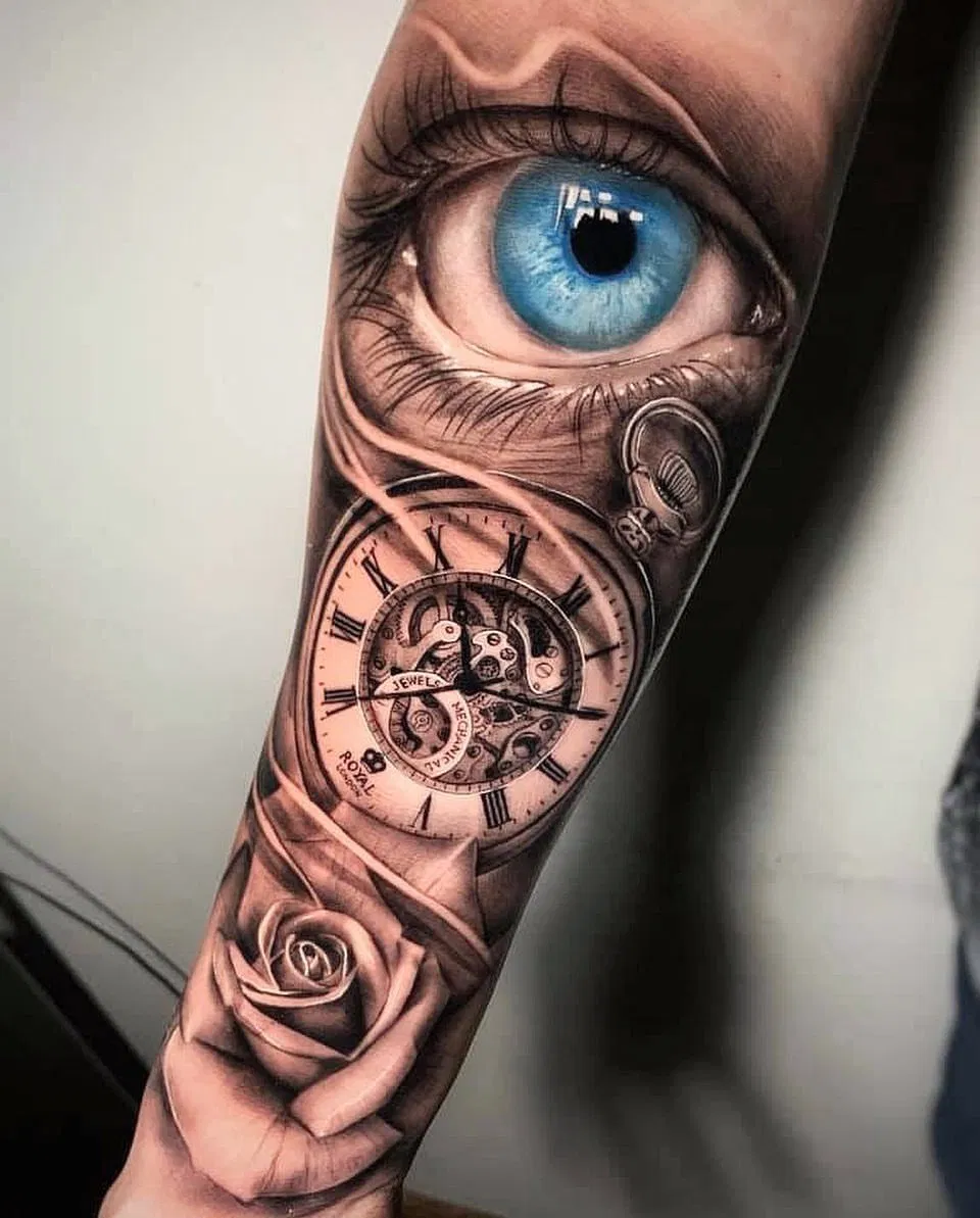 Blue Eye and Clock Tattoo Design