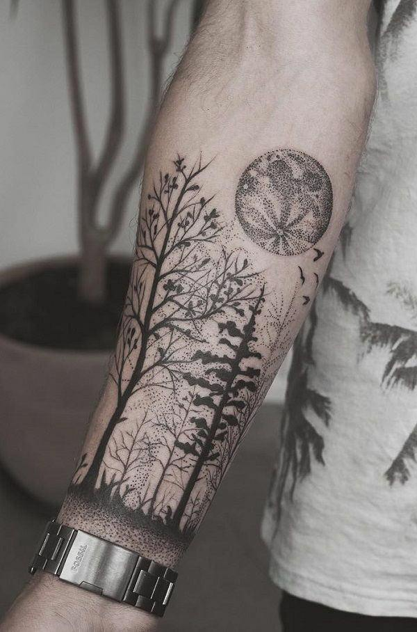 Dot Work Landscape Tattoo Design