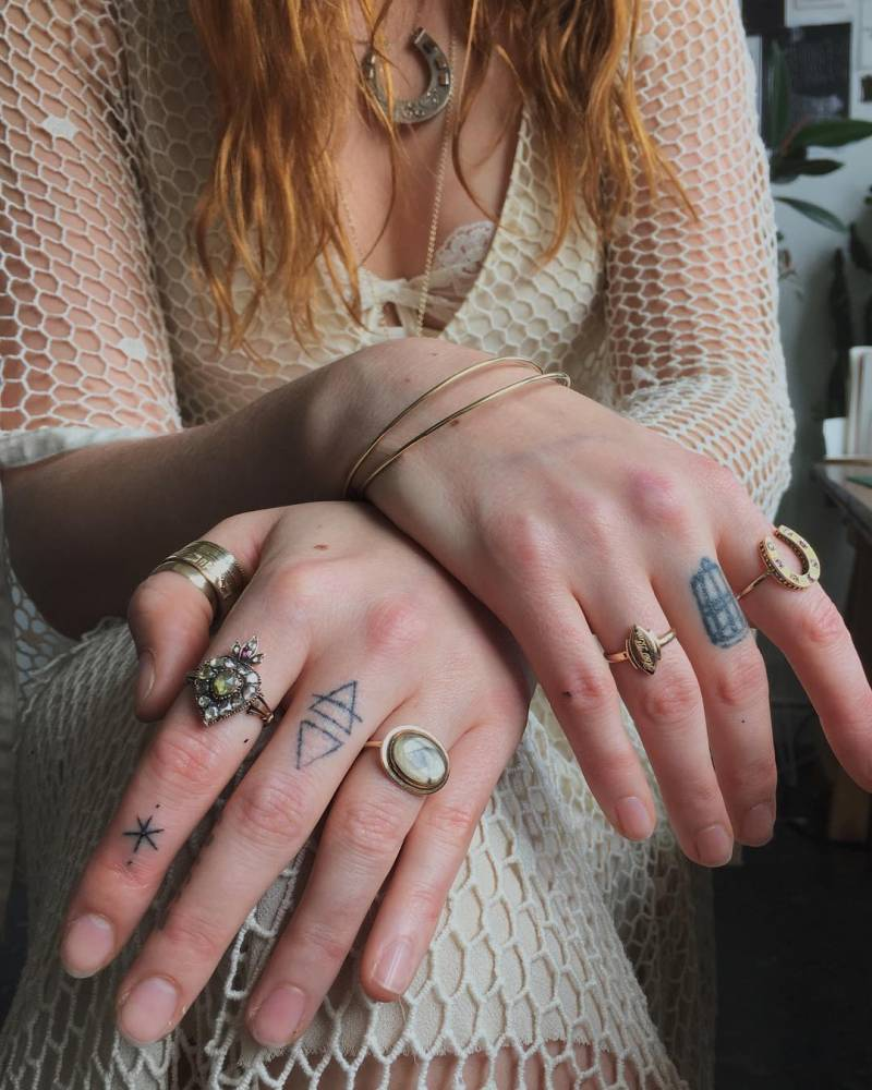 Florence Welch Finger Stick and Poke Tattoo