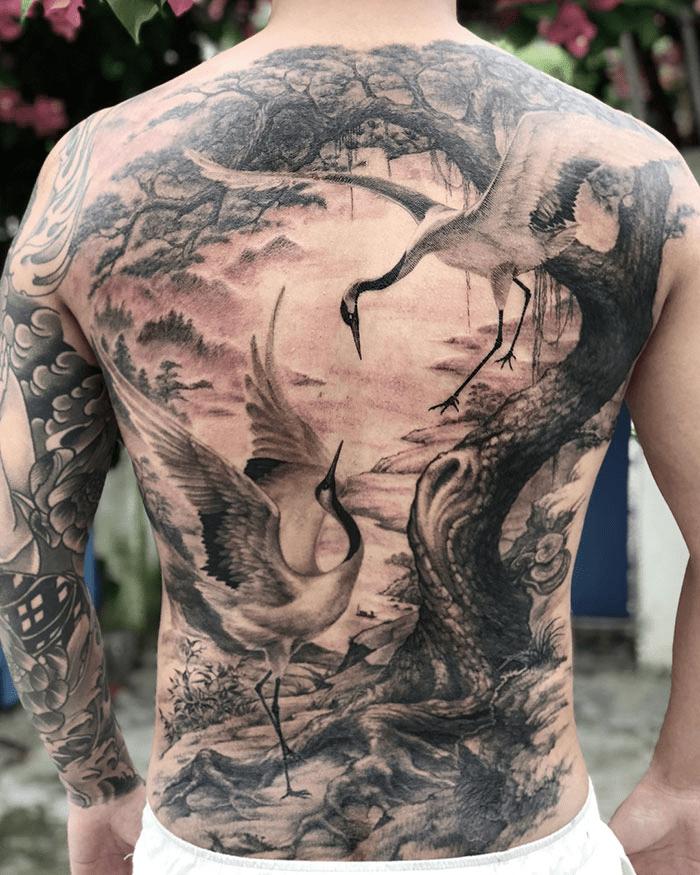 Realistic Full Back Tattoo