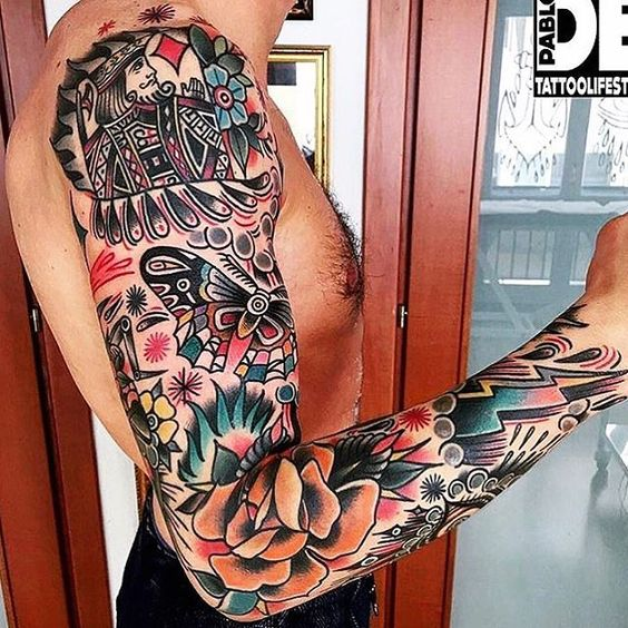 Large Full Sleeve in Neo Traditional Tattoo